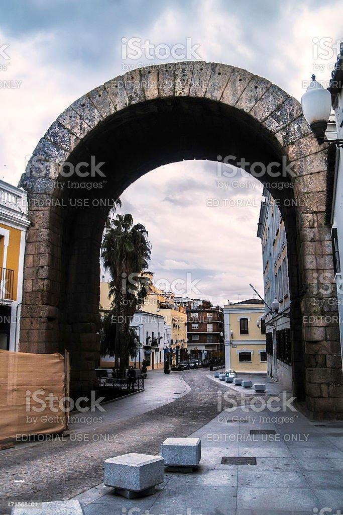 Roman triumphal arch in Merida royalty-free stock photo