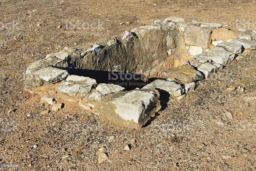 Roman vat used for producing Garum sauce stock photo