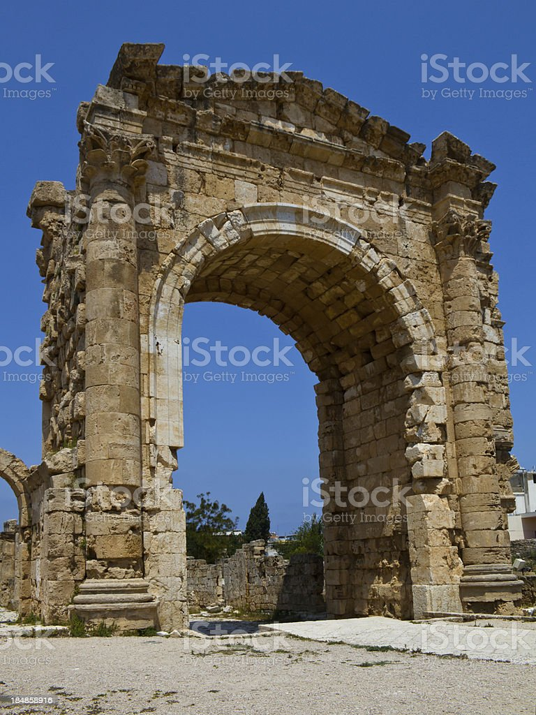 Roman Victory Arch in Tyre Lebanon royalty-free stock photo