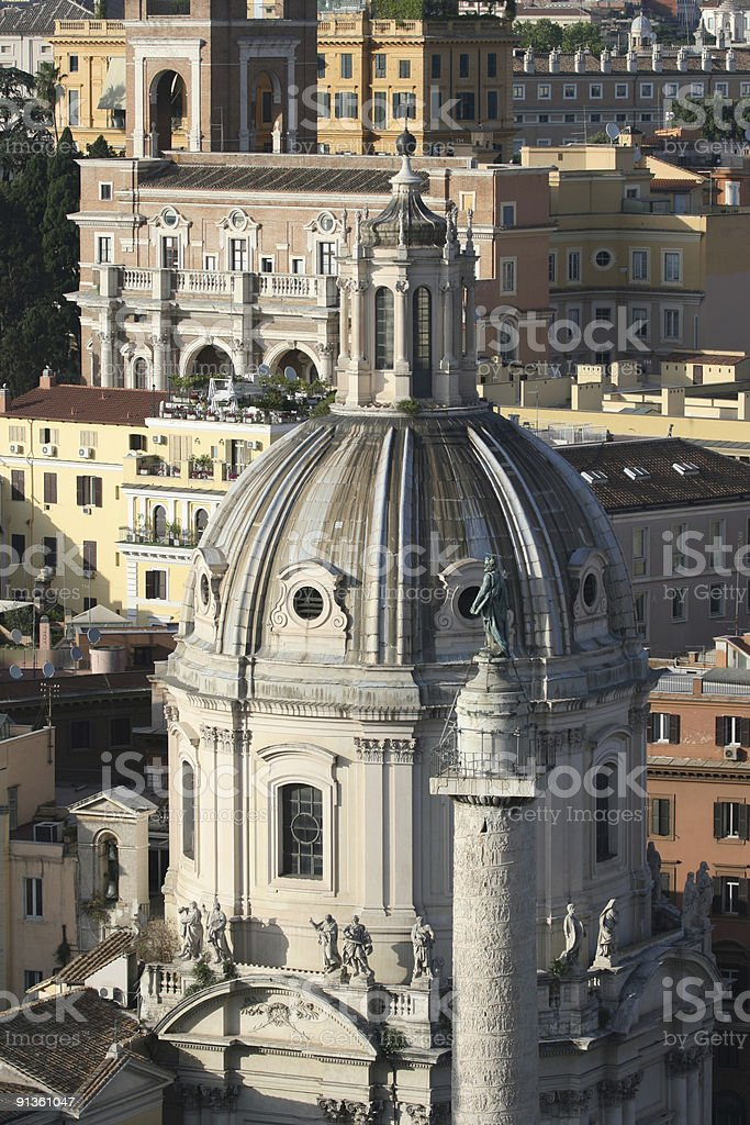 Roman view from above with Church and Trajan's Column royalty-free stock photo