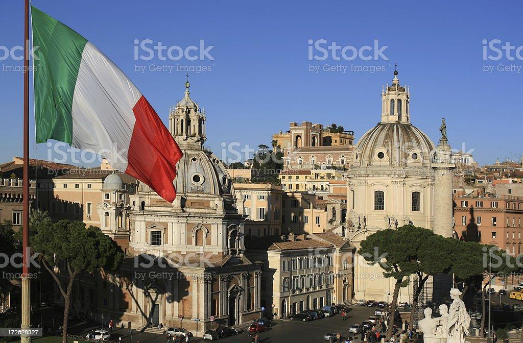 Roman view with Italian flag, Rome Italy royalty-free stock photo