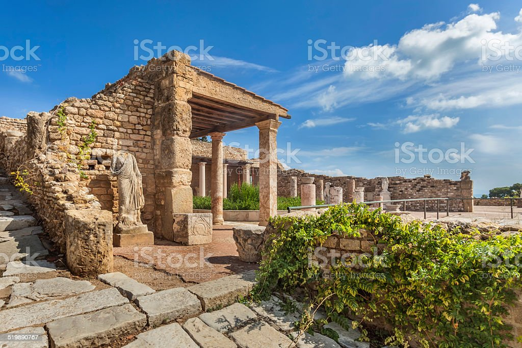 Roman villa in Carthage, Tunisia stock photo