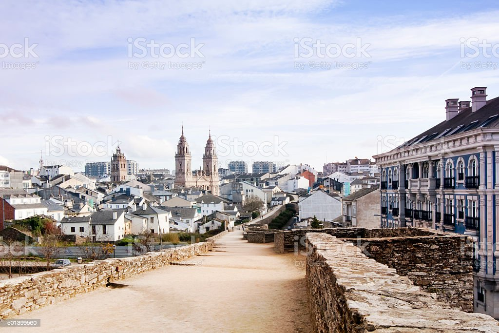 Roman wall and cathedral in Lugo, Galicia, Spain stock photo