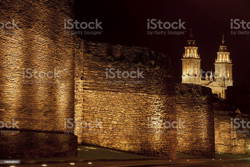 Roman wall and cathedral in Lugo, Spain stock photo