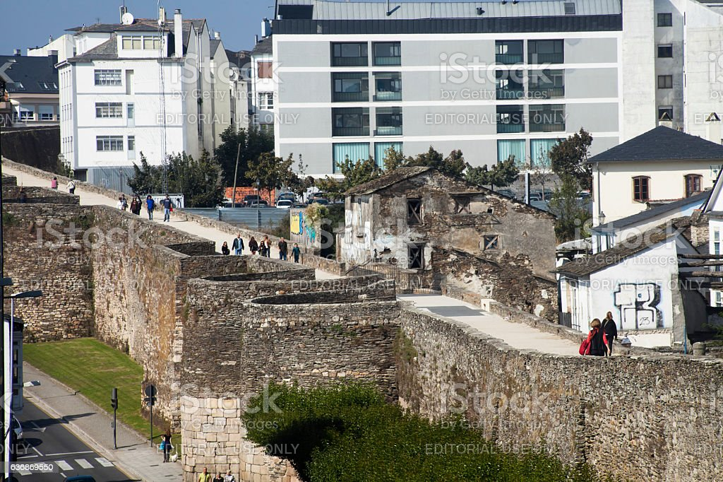 Roman wall and townscape in Lugo, Galicia, Spain stock photo
