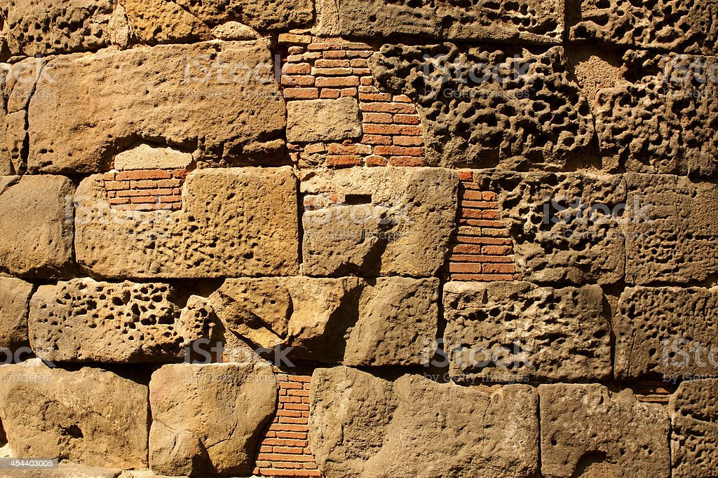 Roman wall, Barcelona royalty-free stock photo