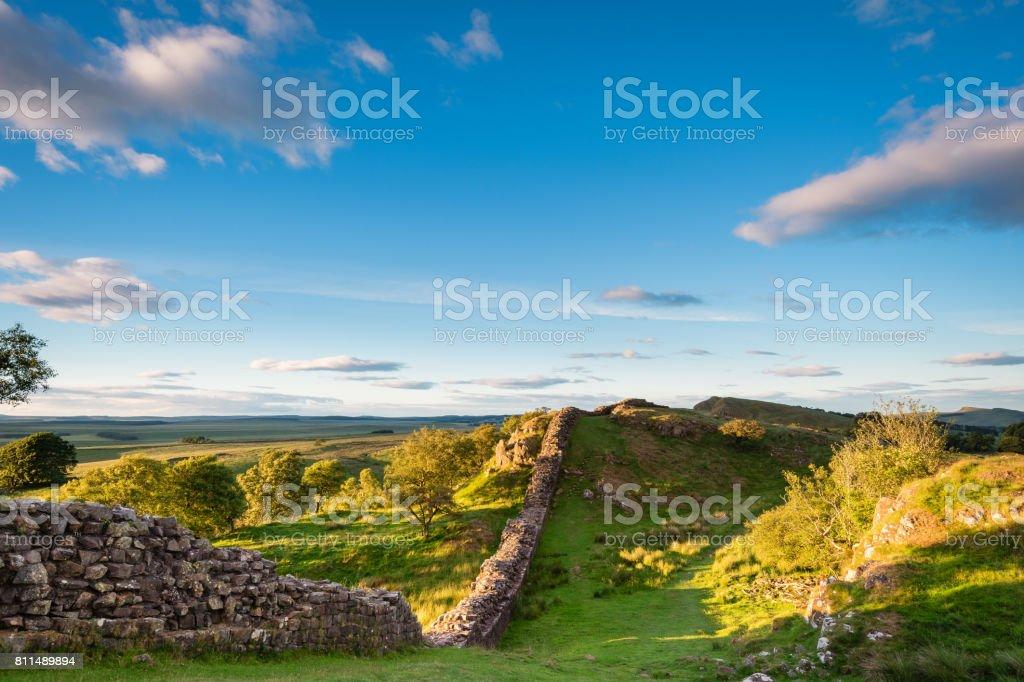 Roman Wall in late evening sun stock photo