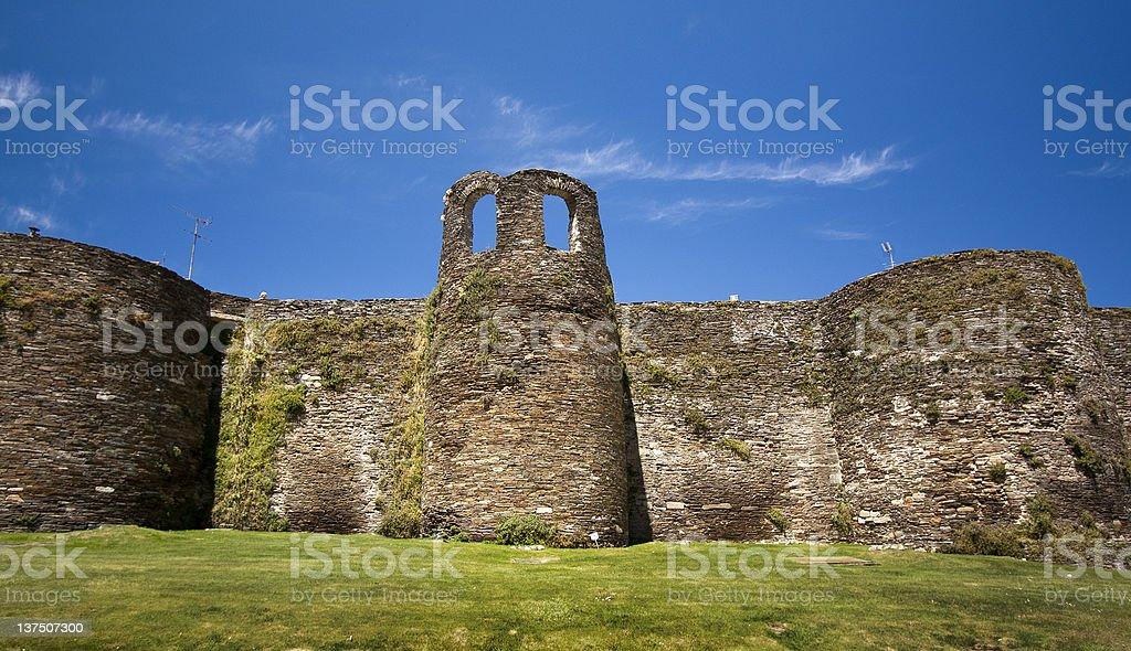 Roman wall in Lugo, Galicia,Spain. stock photo