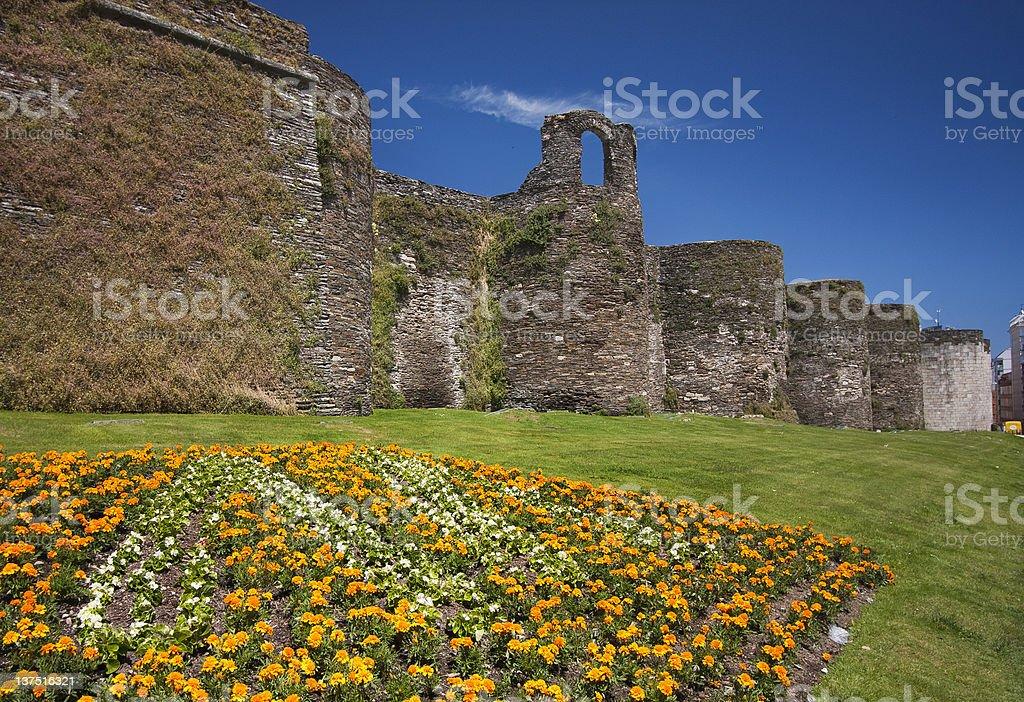 Roman wall in Lugo, Galicia,Spain stock photo