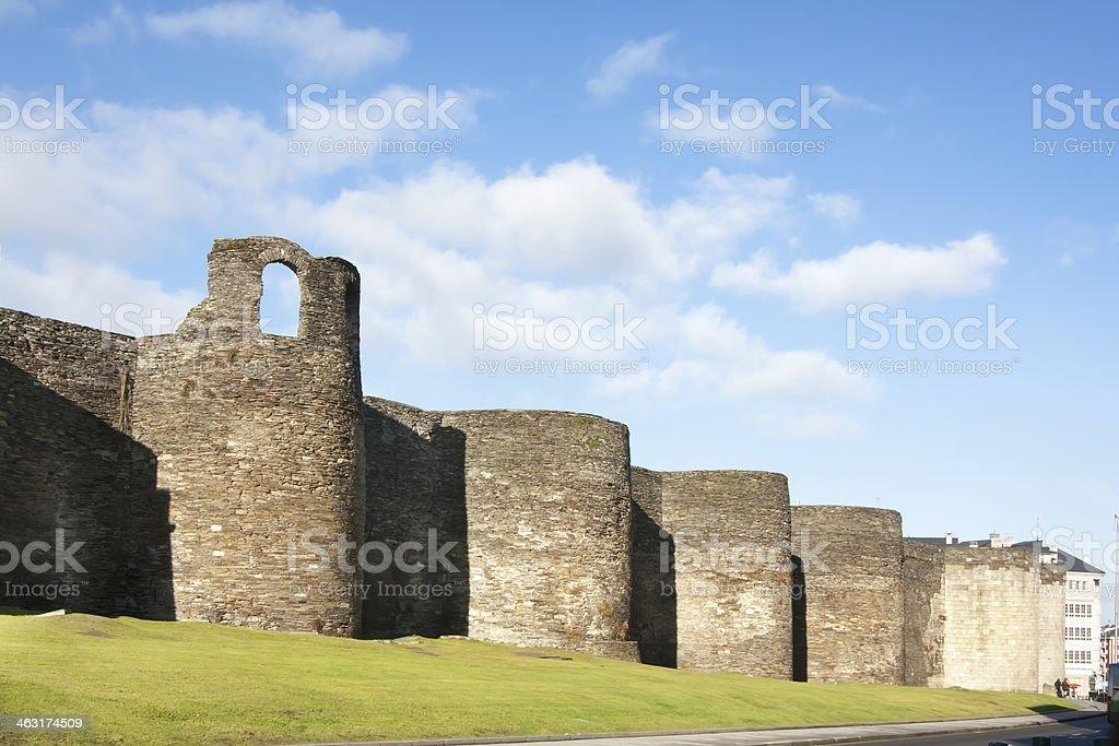 Roman wall in Lugo, Spain stock photo