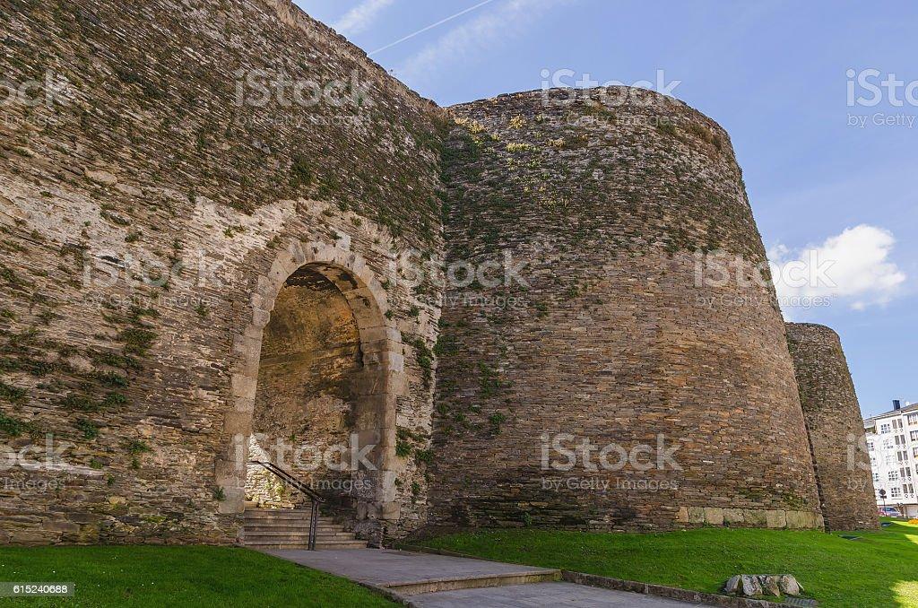 Roman wall of lugo false gate stock photo