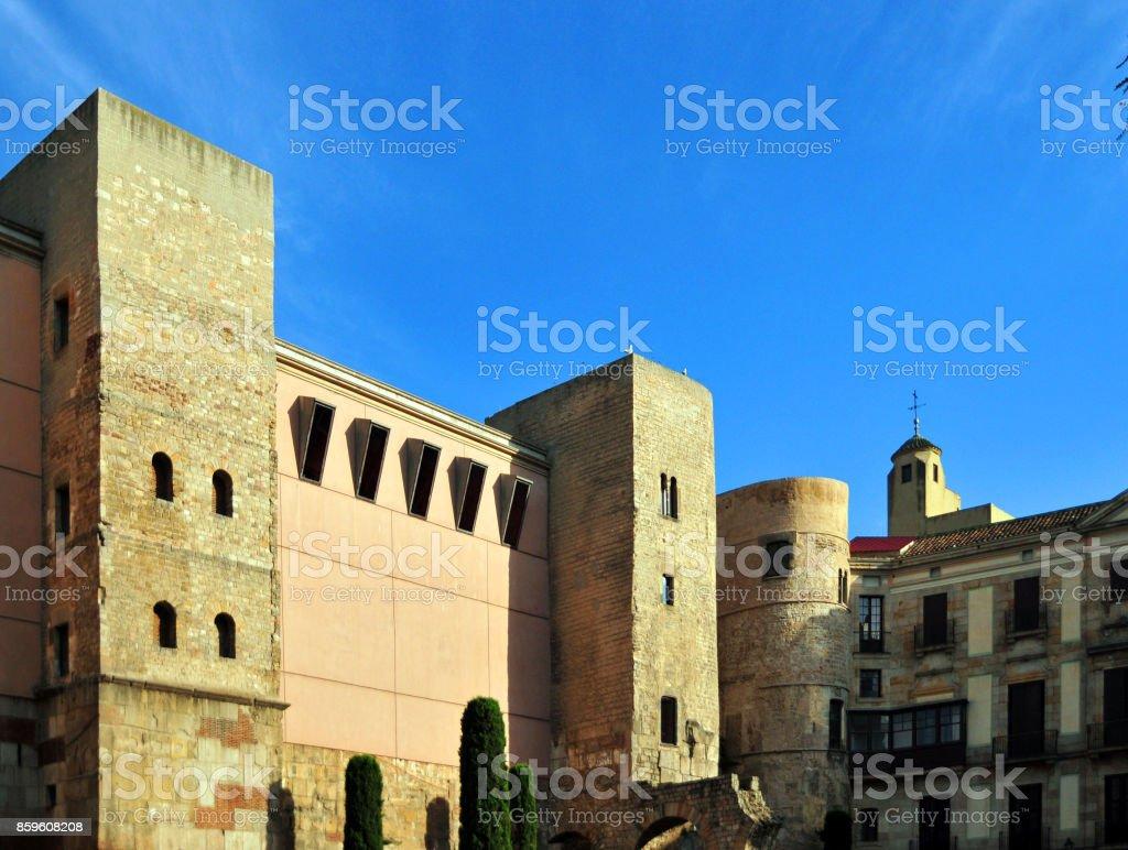 Roman walls, Barri Gòtic, Barcelona Ciutat Vella, Catalonia stock photo