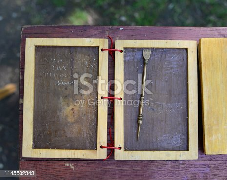 Roman empire wax writing sheets close detail