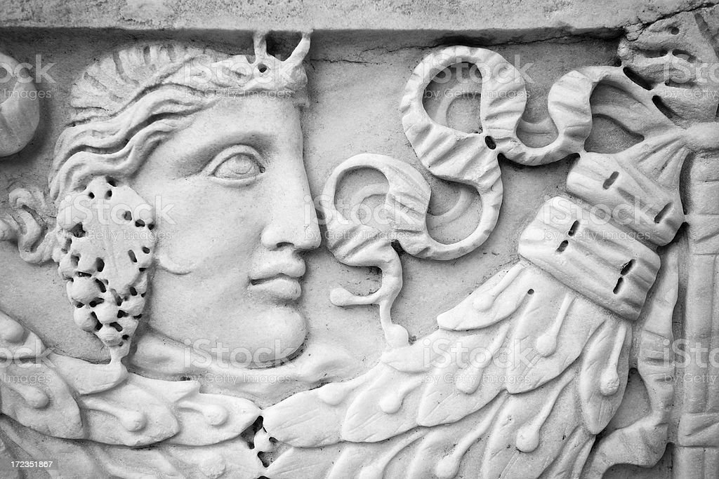 Roman Woman Bas Relief at Ostia Antica Archeological Site royalty-free stock photo