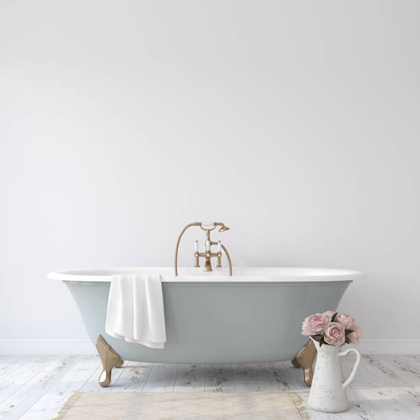 Romance bathroom. 3d render. stock photo