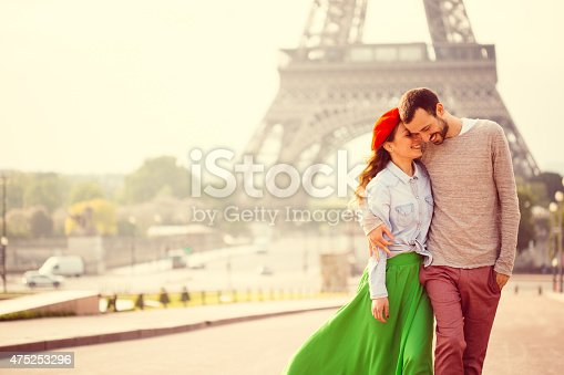 Young loving couple sharing their love and affection in front of the Eiffel tower in Paris, France.