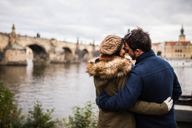 Romance in Prague stock photo