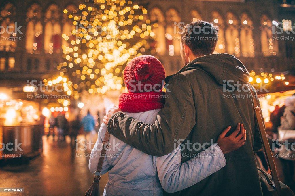 Romance on Christmas market stock photo