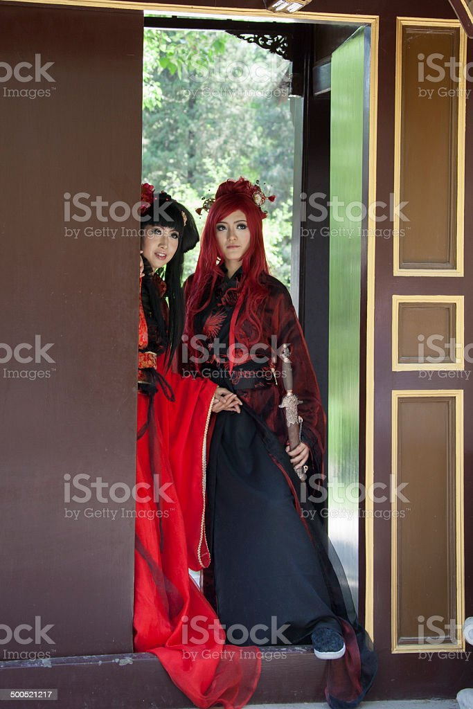 PEOPLE: Romance teenage girls cosplay traditional Chinese characters stock photo