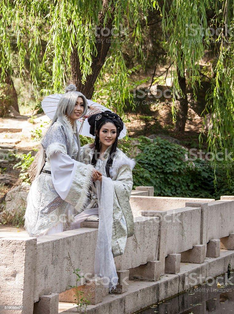 PEOPLE: Romance teenage girls cosplay traditional Han Dynasty ch stock photo