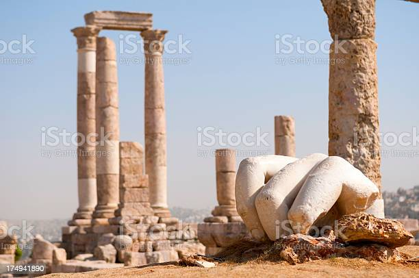 Ancient Hand of Hercules at Citadel in Amman Jordan