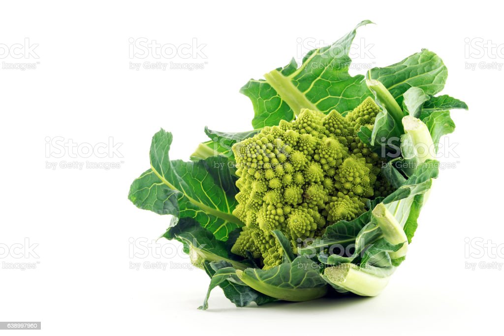 Romanesco broccoli or Roman cauliflower isolated on a white background stock photo