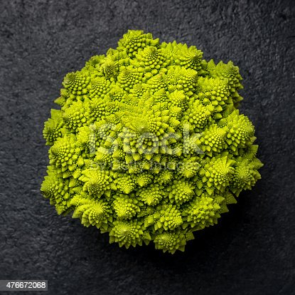romanesco cabbage on dark background, top view