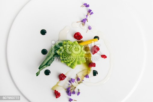 Romanesco cauliflower. Plating gourmet restaurant