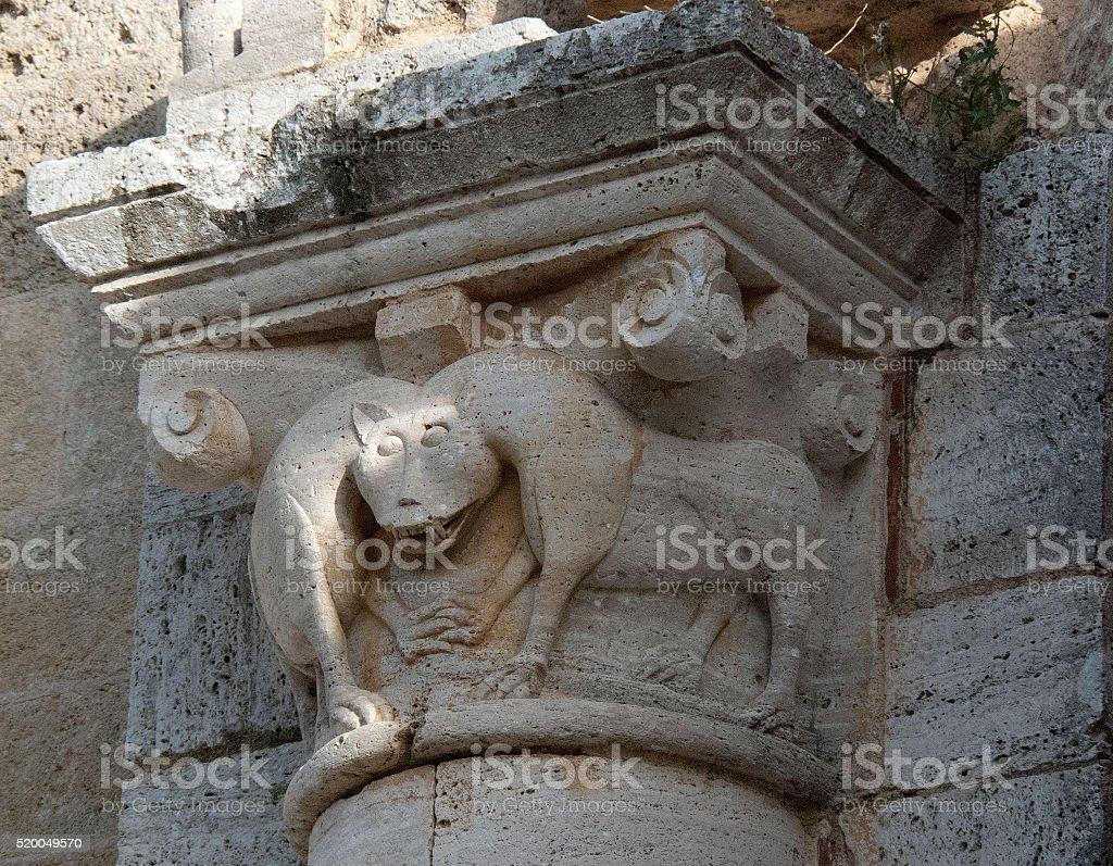 Romanesque capital stock photo