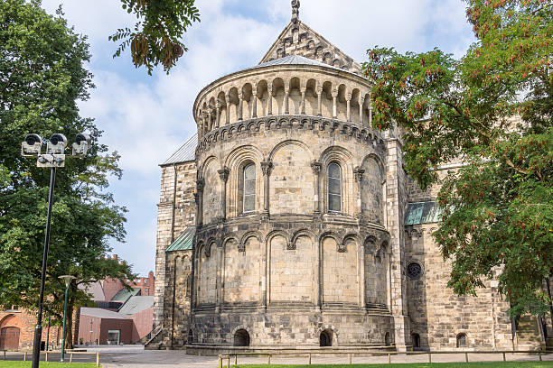 romanesque cathedral in lund, seen from the east side. - lund stock photos and pictures
