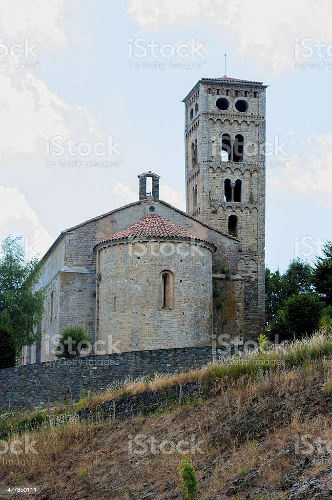 Romanesque church in Mollo village.Catalonia.Spain stock photo