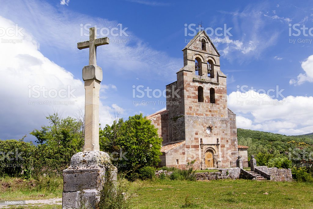 ROmanesque church in the St. James of COmpostela way stock photo