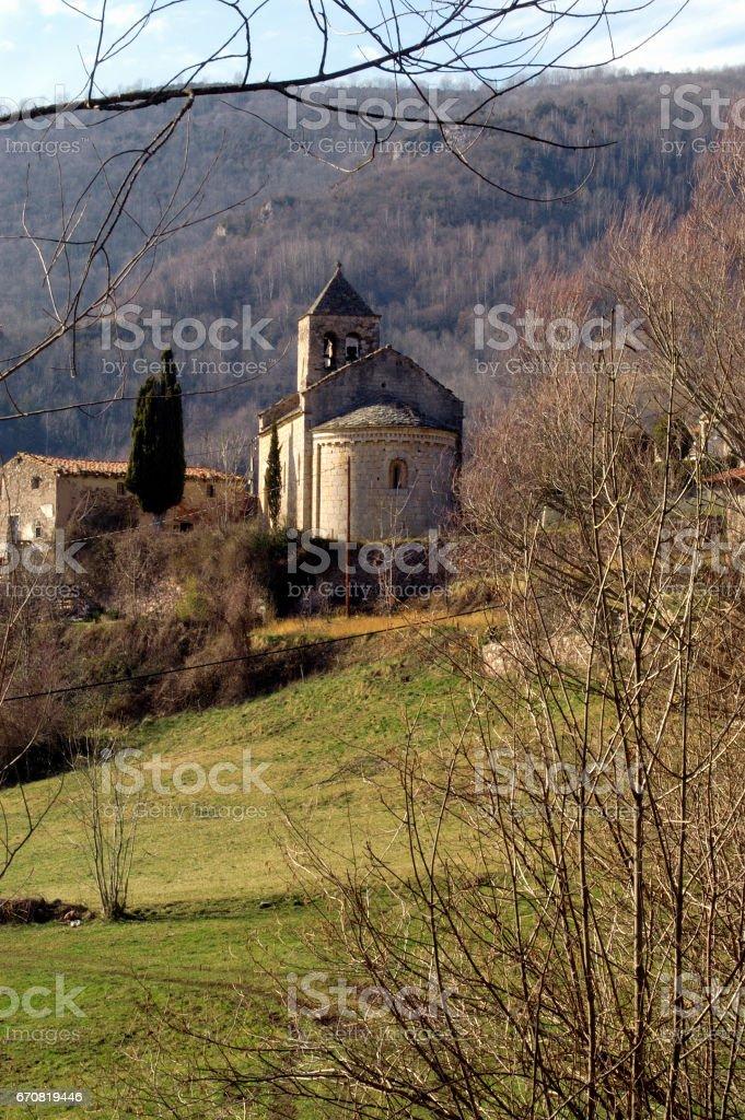 Romanesque church of Sant Feliu, Rocabruna, Beget, Girona province,Catalonia,Spain stock photo