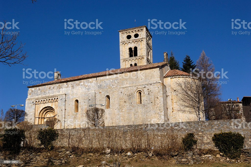 Romanesque Church of Santa Ceciia of Mollo, stock photo