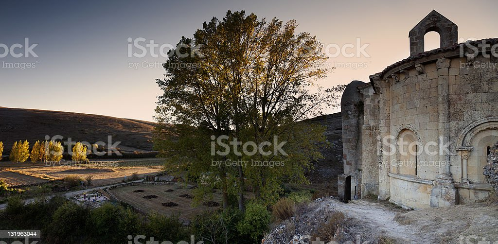 Romanesque church of Santa cecilia stock photo