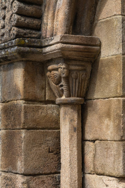 Romanesque column from church, Allariz, Spain Old Santiago church arches, column, capitel in Allariz, Galicia, Spain romanesque stock pictures, royalty-free photos & images