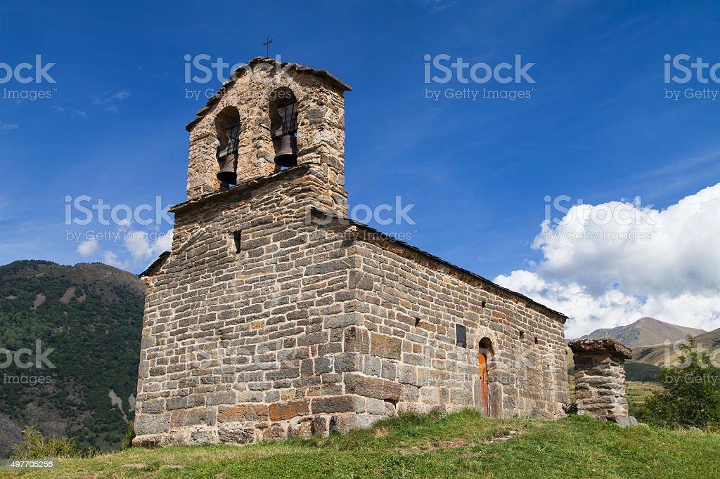Romanesque hermitage in the Pyrenees stock photo