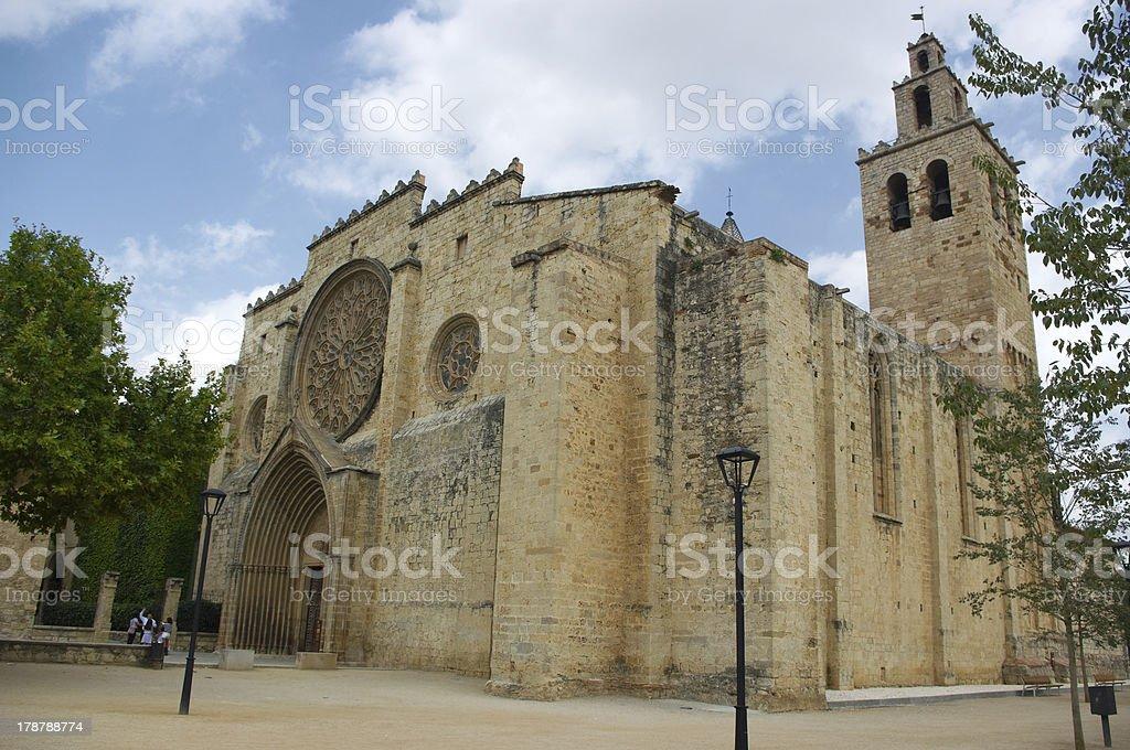 Romanesque monastery of Sant Cugat del Valles.Barcelona.Spain royalty-free stock photo
