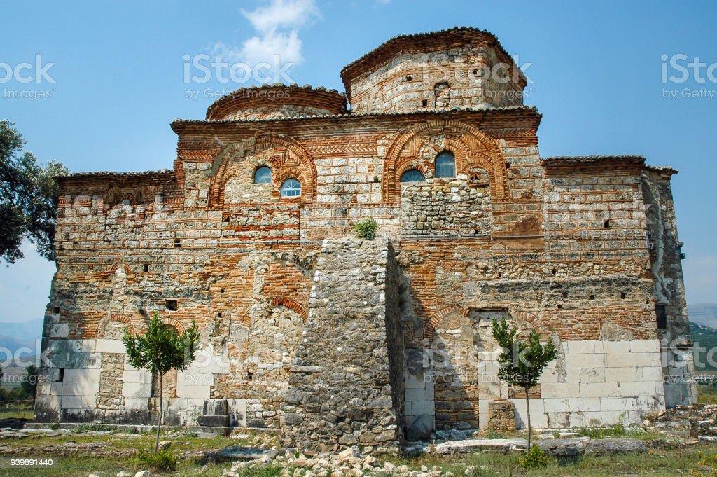 Romanesque style church. Mesopotam, Albania stock photo