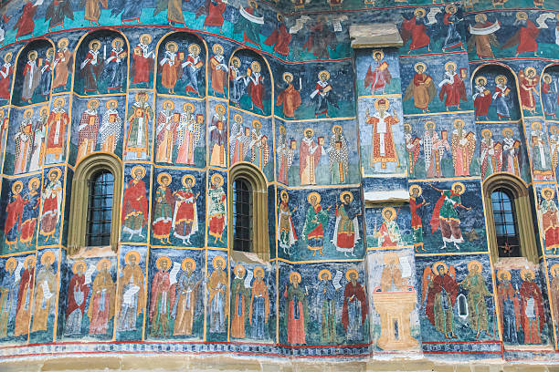 Romania, Bucovina, Sucevita  16th Century, Painted Monastery. Religious Frescoes. stock photo