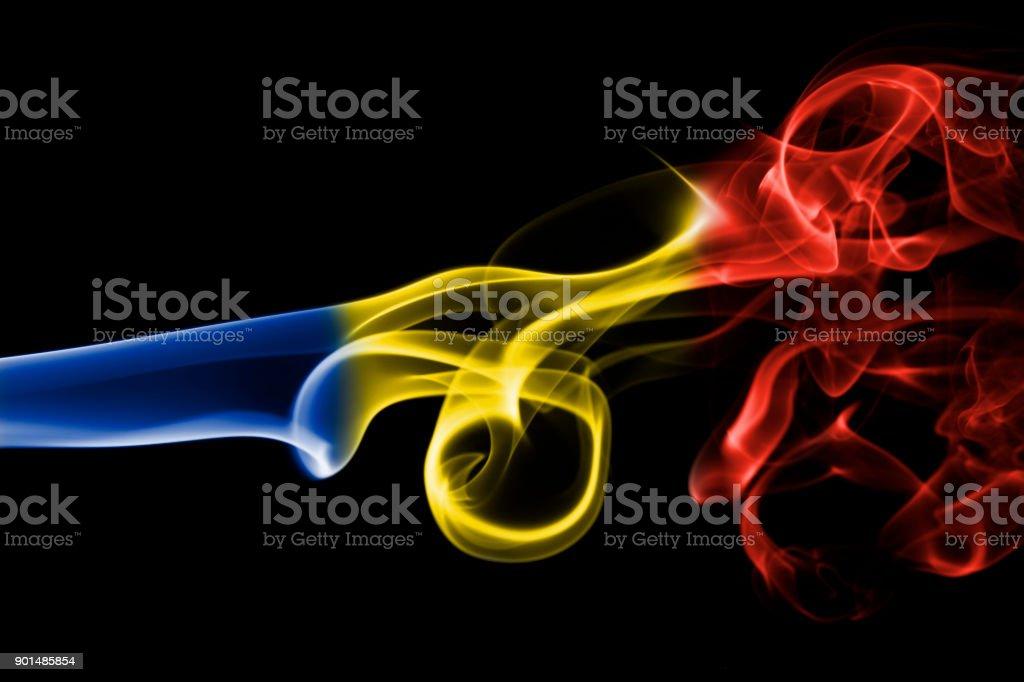 Romania flag smoke stock photo