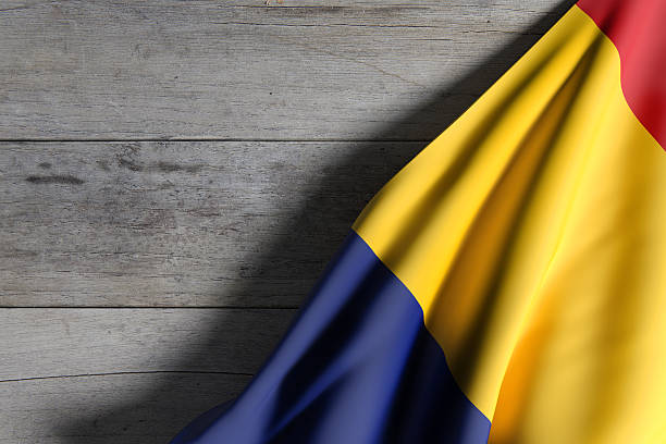 romania flag waving - romania stock photos and pictures