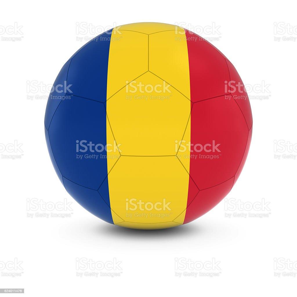 Romania Football - Romanian Flag on Soccer Ball stock photo