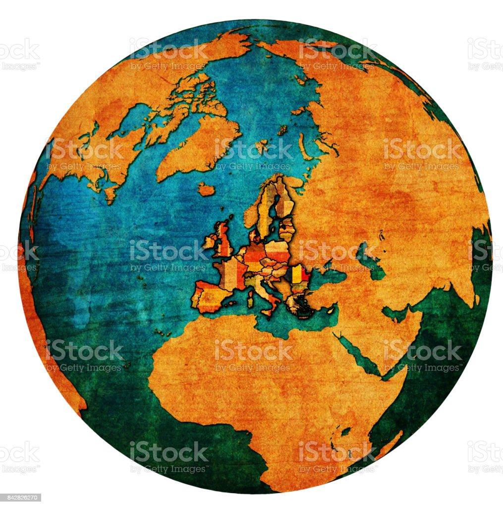 Romania Location On Globe Map With Territory Of European Union Stock ...