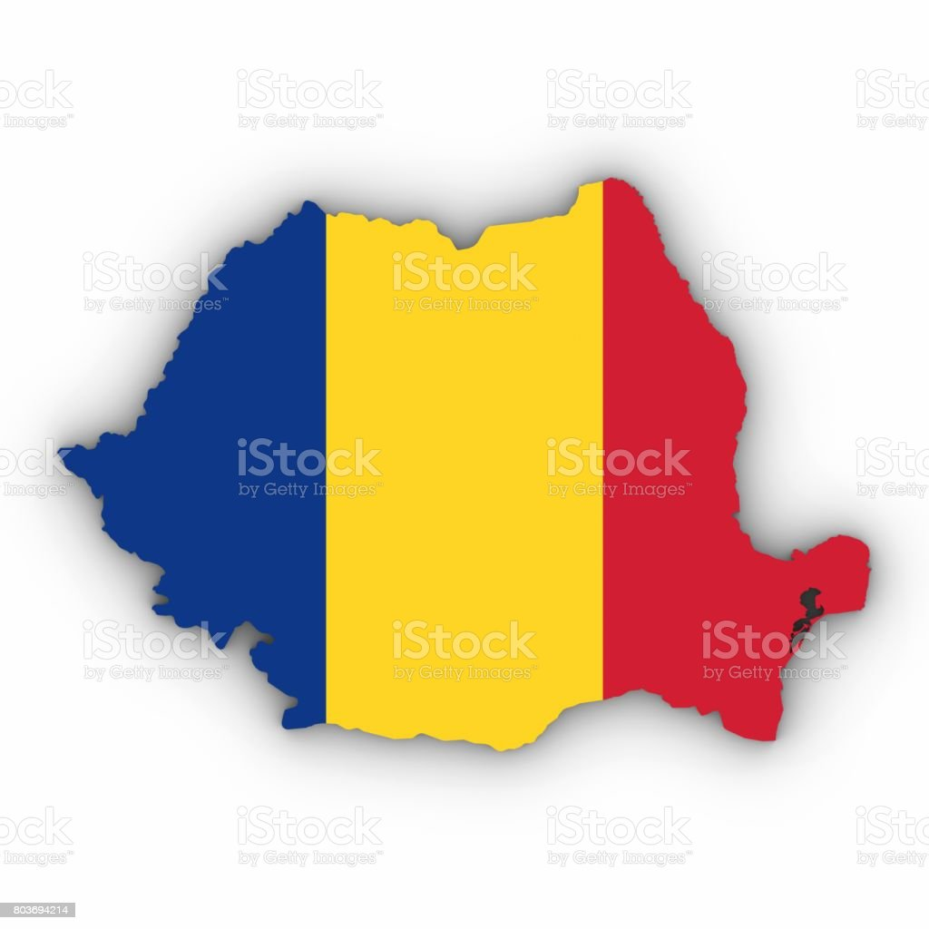Romania Map Outline with Romanian Flag on White with Shadows 3D Illustration stock photo