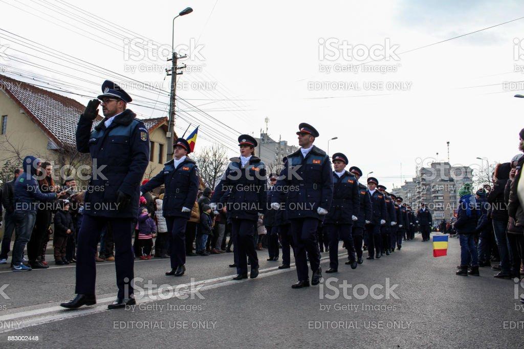 Romania National day military parade in Alba Iulia infantry stock photo