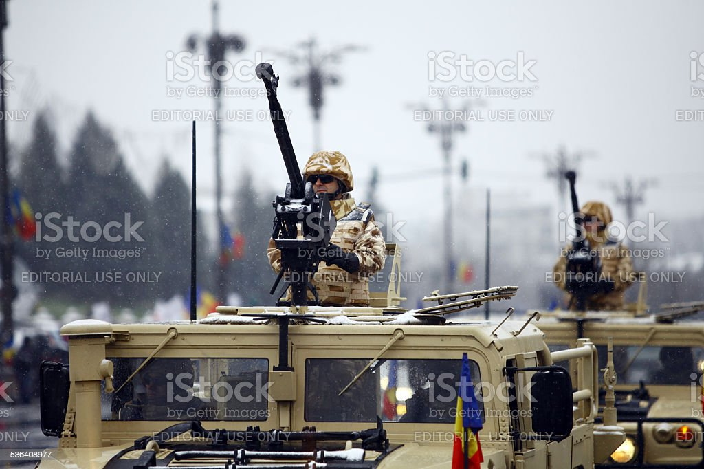 Romania National Day soldiers stock photo