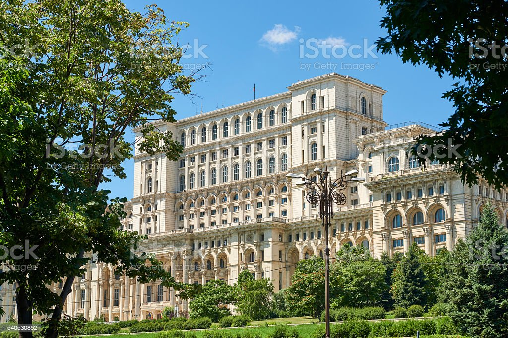 Romania Parliament Palace by day stock photo