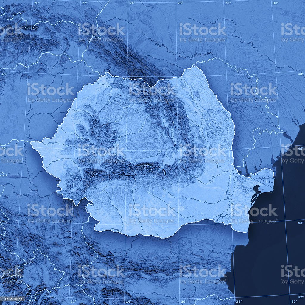 Romania Topographic Map royalty-free stock photo