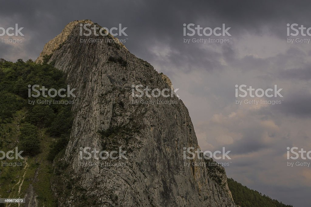 Romania, Transylvania Aiud Gorge  during rain storm stock photo